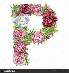 letras con flores letra p con flores letra p de flores acuarela foto de
