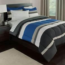 blue white gray stripes boys comforter set 7