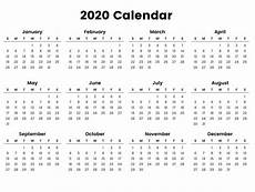 2020 Year At A Glance Calendar 2020 Year At A Glance Printable Calendar Inspiration Design