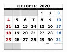 October 2020 Calendar Template Printable Calendars Page 4 Of 64 Free Printable 2020