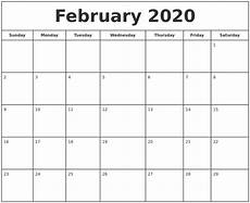 Free Calendar Template February 2020 February 2020 Print Free Calendar