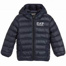 coats for boys armani junior boys blue filled coat childrensalon