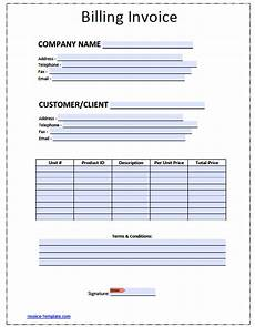 Printable Invoice Template Pdf Free Billing Invoice Template Excel Pdf Word Doc