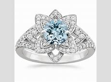 Aquamarine Lily Diamond Ring (1/2 ct. tw.) in 18K White Gold