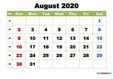 August 2020 Calendar With Holidays Free August 2020 Printable Calendar With Holidays Free
