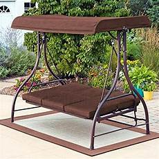 brown patio porch outdoor swing canopy awning 3 seat bed