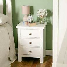 white bedside table 3 drawer cabinet painted solid wood