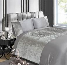luxury crushed velvet silver grey or chagne duvet quilt