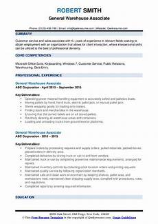 Warehouse Associate Resume Samples General Warehouse Associate Resume Samples Qwikresume