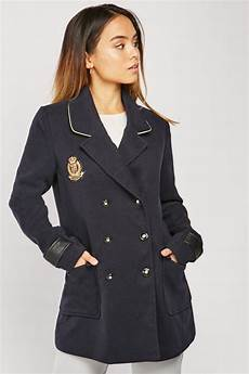 womens pea coats active embroidered patch trim pea coat just 6