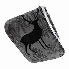 stag patterned sherpa soft touch fleece throw grey