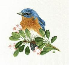 embroidery bird embroidery kit eastern blue bird on blossom branch
