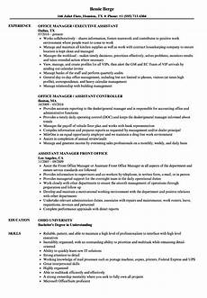 Office Manager Assistant Resumes Resume Example For Office Manager