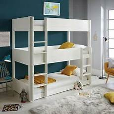 sweden solid wood white sleeper three tier bunk bed