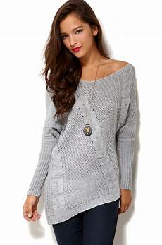 stricken pullunder lyst shoulder cable knit sweater in grey in gray