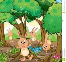 blumen malvorlagen kostenlos spielen vier kaninchen die am wald spielen stock abbildung