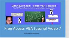 Access Event Free Access Vba Tutorial Video 7 Ms Access Event