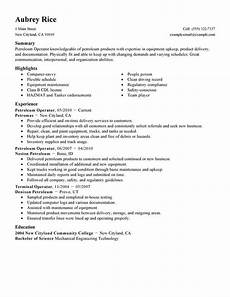 Resume The Process Best Petroleum Operator Resume Example From Professional