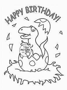dinosaur and happy birthday coloring page for
