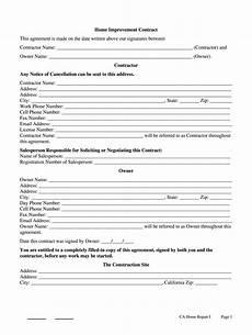 California Home Improvement Contract California Home Improvement Contract Template Fill