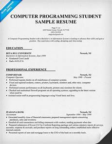 Computer Programming Student Resume Pin By Resume Companion On Resume Samples Across All