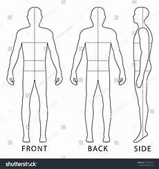 Outline Of Human Body Front And Back Fashion Body Full Length Bald Template Stock Vector