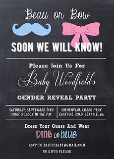 Free Printable Gender Reveal Invitations Gender Reveal Party Invitation Beau Or Bow By