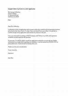 Follow Up To Job Application Sample Follow Up Letter To A Job Application Mr George