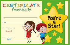 Child Award Certificate Certificate Template With Kids And Stars Premium Vector