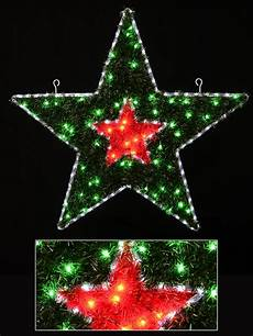 Red And White Large Christmas Lights Red Amp Green With Cool White Led Tinsel Double Star Rope