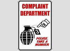 Complaint Department Sign @ Car Stickers Decals