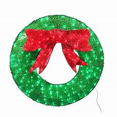 Outdoor Christmas Wreaths With Led Lights Holiday Living Pre Lit Wreath Sign With Constant Green Led