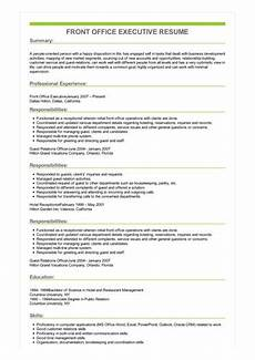 Front Office Executive Resumes Sample Front Office Executive Resume