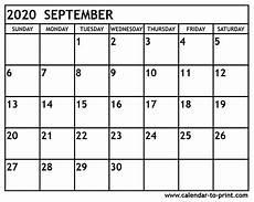 Calendar 2020 September Printable September 2020 Calendar Printable