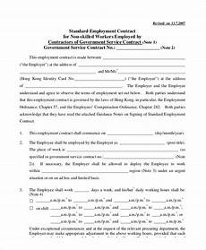 Standard Contract Template Standard Employment Contract Sample 13 Examples In Word