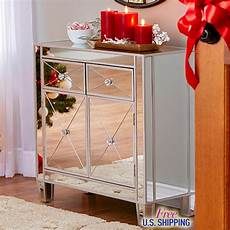 modern mirrored cabinet chest bedside stand drawers