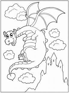 kostenlose malvorlage m 228 rchen fliegender drache vor einem