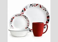 Corelle 16 Piece Livingware Mosaic Red Dinnerware Set