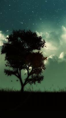 Iphone Wallpaper Cool Tree by Starry Shiny Cloudy Skyscape Lonely Tree Hill Iphone