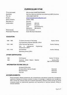 Format Of A Curriculum Vitae Curriculum Vitae World Bank Format V3