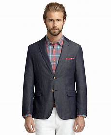 sporty coats brothers washed denim sport coat in blue for