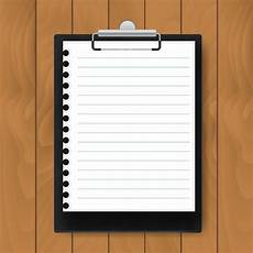 Clipboard Template Black Clipboard With Lined Paper On Wood Background