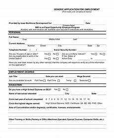 Sample Employment Application Pdf Free 11 Sample Generic Employment Application Forms In