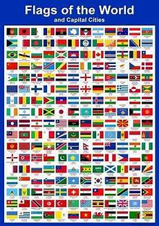 Flags Of The World Chart Printable A3 Flags Of The World Amp Capital Cities Educational Wall
