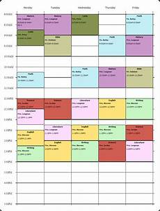 College Class Schedule Maker Template Online Weekly Class Scheduling Template I Used The Free