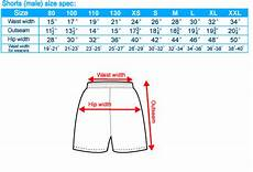 Trimming Shorts Size Chart Sports Bottoms Size Chart Sg