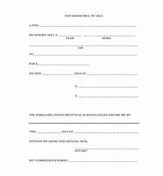 Bill Of Sale With Notary Free 12 Sample Blank Bill Of Sale Forms In Pdf Word Excel