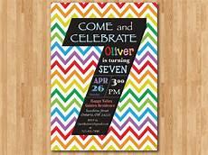 7th Birthday Invitation Card Printable Rainbow 7th Birthday Invitation Colorful Chevron Birthday