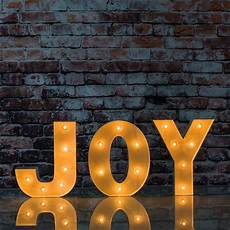 Metal Letters With Lights Wholesale White Marquee Light Joy Led Metal Sign 8 Inch Battery
