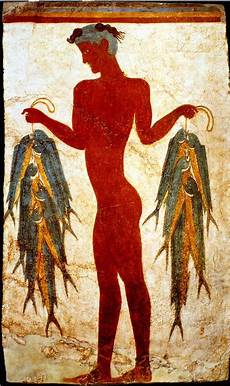 fresco of a fisherman from the bronze age excavation of